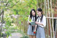 两个最好的朋友bestie亚洲中国愉快的年轻逗人喜爱的可爱的可爱的学生青年时期在公园庭院学校夏天读了书 库存照片