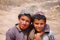 两个朋友在坎大哈,阿富汗 免版税库存照片