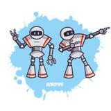 两个机器人由管子制成 免版税库存图片