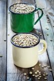 两个杯子用有机绿色扁豆 免版税库存图片