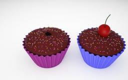 两个杯形蛋糕3D照片 库存照片