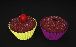 两个杯形蛋糕3D照片 免版税库存照片