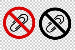 两个样式重线象禁止了标志,没有纸夹 库存照片