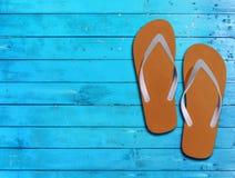 两个桔子人生活方式放松在蓝色木地板上的触发器 免版税库存图片