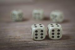 两个模子编号在一张木桌上的双六 免版税库存照片