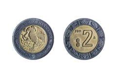 两个比索墨西哥人硬币 库存照片
