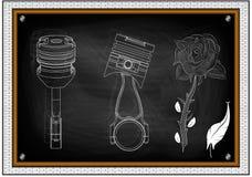 两个活塞图画和在黑背景的一朵花 免版税库存照片