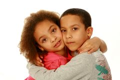两个混合的族种孩子 免版税库存照片