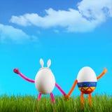 两个滑稽的复活节彩蛋 库存图片