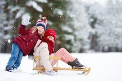 两个滑稽的小女孩获得与技巧的乐趣在美丽的冬天公园 使用在雪的逗人喜爱的孩子 库存照片