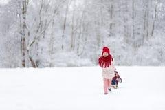 两个滑稽的小女孩获得与技巧的乐趣在美丽的冬天公园 使用在雪的逗人喜爱的孩子 库存图片