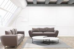 两个灰色沙发、海报和桌 库存例证