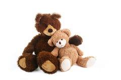 两个玩具熊,更大和更小,坐接近彼此,如他们是最好的朋友 免版税库存图片