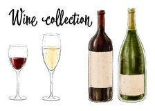 两个瓶与在白色背景隔绝的两块玻璃的酒 酒汇集 也corel凹道例证向量 库存照片