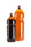 两个瓶在白色的桶装啤酒 库存图片