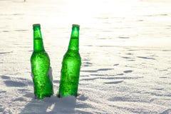 两个瓶在雪的冰镇啤酒在日落 库存图片
