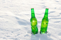 两个瓶在雪的冰镇啤酒在日落 免版税库存照片