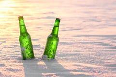 两个瓶在雪的冰镇啤酒在日落 免版税库存图片