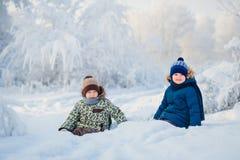 两个男孩使用在冬天森林里的,兄弟 免版税库存图片