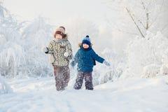 两个男孩使用在冬天森林里的,兄弟 库存图片