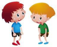 两个男孩冒汗和疲倦 向量例证