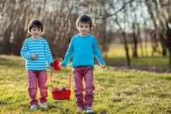 两个男孩在公园,获得乐趣用复活节的色的鸡蛋 免版税库存图片