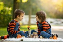 两个男孩在有万圣夜服装的公园,获得乐趣 库存图片