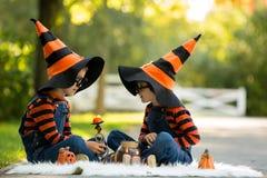 两个男孩在有万圣夜服装的公园,获得乐趣 图库摄影