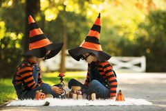 两个男孩在有万圣夜服装的公园,获得乐趣 免版税图库摄影