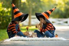 两个男孩在有万圣夜服装的公园,获得乐趣 免版税库存图片