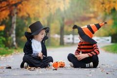 两个男孩在有万圣夜服装的公园 库存照片