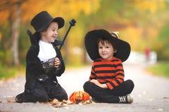 两个男孩在有万圣夜服装的公园 免版税库存图片