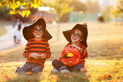两个男孩在有万圣夜服装的公园 图库摄影