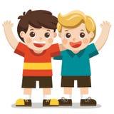 两个男孩微笑,拥抱和摇他们的手 皇族释放例证