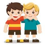 两个男孩微笑,拥抱 愉快的孩子最好的朋友 向量例证