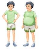 两个男孩有同样衬衣的,但是不同的身体尺寸 库存例证