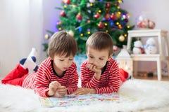 两个男孩,读在圣诞树前面的一本书 免版税图库摄影