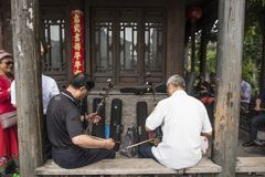 两个男性年长erhu恋人为表现做准备 图库摄影