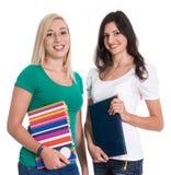 两个白种人被隔绝的妇女喜欢学生。 免版税库存照片