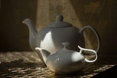 两个白色茶壶 库存照片