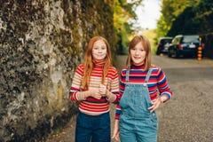 两个相当小青春期前的女孩画象  库存照片