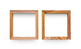 两个空白的木样式照片框架,保险开关 免版税库存照片