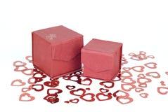 两个红色礼物盒 免版税图库摄影