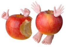 两个红色苹果字符 免版税图库摄影
