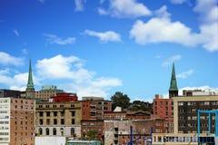 两个绿色尖顶在圣约翰 库存图片