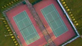 两个网球场鸟瞰图  库存图片