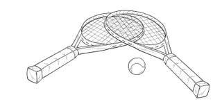 两个网球拍和球,剪影 免版税库存图片