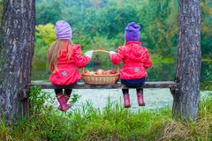 两个美丽的姐妹背面图长凳的由 库存照片