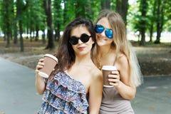 两个美丽的年轻boho女孩食用咖啡在公园 库存照片