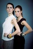 两个美丽的深色的女孩偶然时尚和辅助部件 库存照片